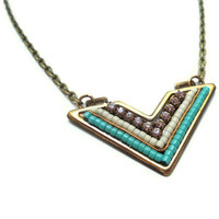 Necklace, Chevron, Tribal, Aqua, Purple