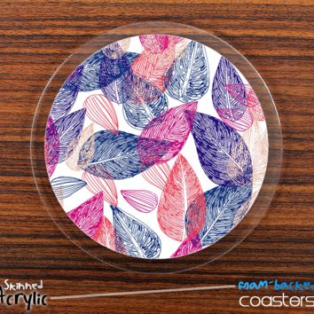 The Colorful Seamless Leaves V2 Skinned Foam-Backed Coaster Set