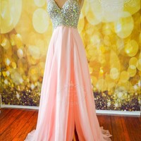 SHEER PINK FORMAL EVENING PROM LONG PAGEANT HOLIDAY PARTY GOWN DRESS XS 2 ARIANA