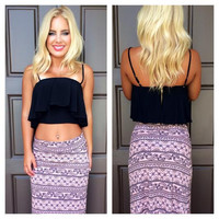 Riley Flounce Crop Top - BLACK