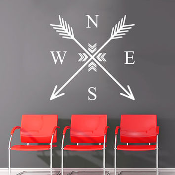 Wall Decal Arrow Compass Rose Nautical Navigate Vinyl Sticker Decals Art Home Decor Feather Wall Decal Arrows Fashion Bohemian Bedroom AN710