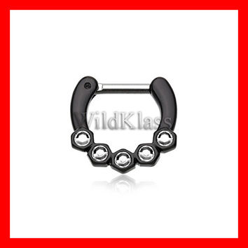 Black Septum Clicker Hexa Gemina Sparkle 16g 14g Septum Ring Cartilage Earrings Nipple Ring Circular Barbell Tragus Jewelry Helix Conch