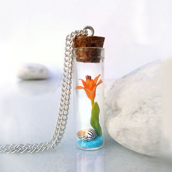 Tiger lily bottle necklace, exotic flower and seashell in a glass vial, polymer clay