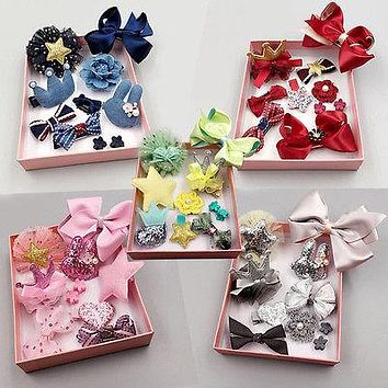 10pcs Kids Baby Girls Bow-knot Hair Clips Accessory Flower Barrette Pins Gift Set for Beautiful Girls