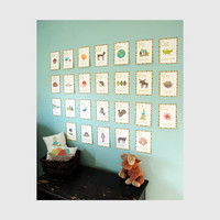 Alphabet Wall Cards - Nature Themed 5x7 English Alphabet Wall Cards