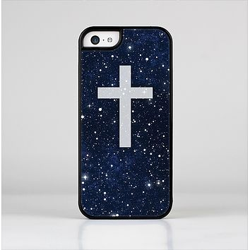 The Vector White Cross v2 over Bright Starry Sky Skin-Sert for the Apple iPhone 5c Skin-Sert Case