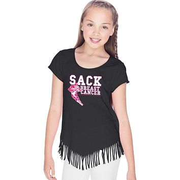 Girls Breast Cancer T-shirt Sack Cancer Fringe Tee