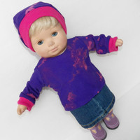"HANDMADE CLOTHES, made to fit your 15"" bitty, baby doll, purple shirt & skirt"