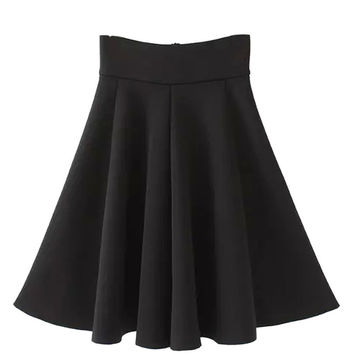 Black High Waist Skater Midi Skirt