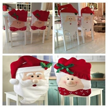 Home Red Santa Claus Christmas Kitchen Chair Covers Set Dining Holiday Decor = 1946658500