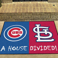 "MLB - Chicago Cubs - St. Louis Cardinals House Divided Rugs 34""x45"""