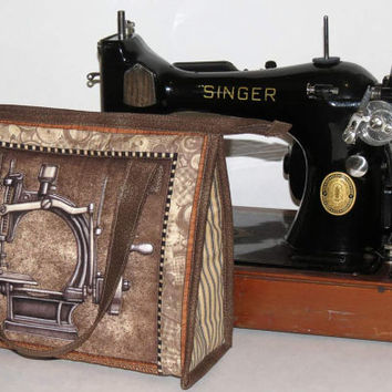 Sewing Bag, Quilted Tote, Vintage Sewing Machine