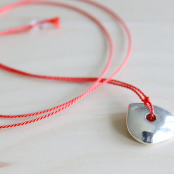 Wish necklace/ red dainty necklace/ effortless chic necklace/ minimalist necklace