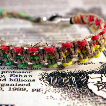 Rasta Hemp Roach Clip Bracelet made with rainbow red, yellow, and green hemp twine and alligator clip - 420 roach clip jewelry