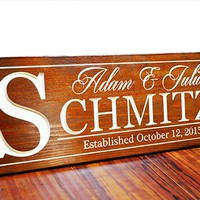 "24x8"" Personalized Last Name Wood Sign - Great For Wedding Presents! .sign#235"