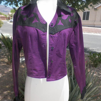 Vintage Royal Purple Cowgirl Bolero Style Jacket. Jean Jacket. TILLMAN. Tassels. Size Medium