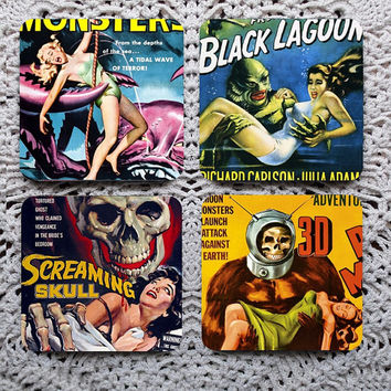 Creature Feature -- Kitschy 50s Monster Horror Movies Mousepad Coaster Set