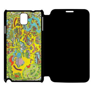 Vintage Walt Disney World Map Fantasyland 1971 Samsung Galaxy Note 4 Flip Case Cover