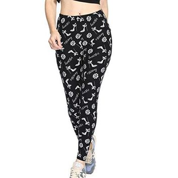 Wei Ding Mao Women Printed Leggings Base Layer Pants Long Trousers for Shirt Hoodie