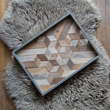 Wood Serving Tray | Wood Tray | Reclaimed Wood | Decorative Tray | Rustic Geometric| Table Tray | Cube Mix | Blue Grey Tray |