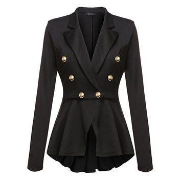 Both Row Metal Buckle Suit Coat, Woman Girl Sexy Summer Plus Size Bodysuit, Loose Casual Office Formal Jacket