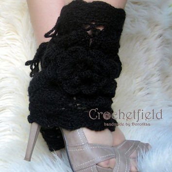 Black Leg warmers, boot cuffs, lace boot socks, Crochet Dance / Ballet Leg Warmers,fitness boot socks,Gift for her Women's Fashion Accessory