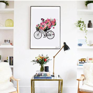 Nordic Style Canvas Art Print Watercolor Paintings, Posters and Prints Flower Girl Wall Pictures for Home Decoration, Wall Decor