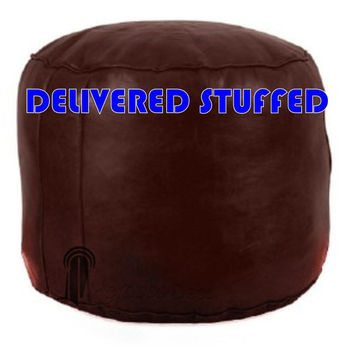 Stuffed Moroccan Pouf Leather Ottoman Poof Pouffe pouffes hassock Footstool Beanbag leather pillow, Chocolate moroccan round pouffe