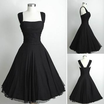 Cheap Little Black Chiffon Cocktail Party Dresses Formal Strapless Open Back Tea Length Prom Dress For Women Vestido De Festa