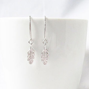 tiny feather earrings, silver feather earrings, feather jewelry, pull through earrings, minimalist earrings,feather earings