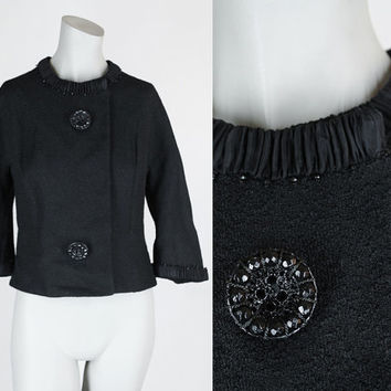 Vintage 60s Jacket / 1960s Black Wool Boucle Short Dress Jacket L