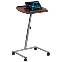 Angle and Height Adjustable Mobile Laptop Computer Table with Mahogany Top JB-4-GG