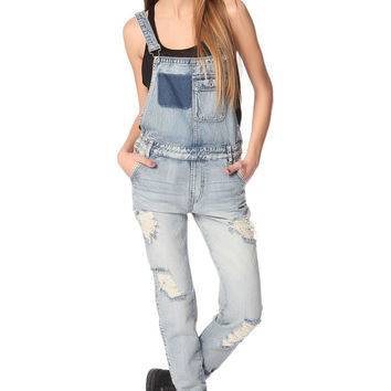 Q2 Denim Overalls With All Over Rips