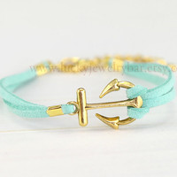 Bracelet- Anchor bracelet, mint green bracelet, leather bracelet, Golden anchor, friendship, sweet gift 13-01