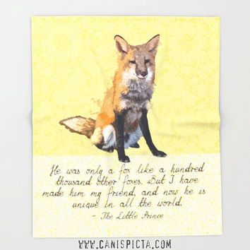 The Little Prince Fox Blanket Throw Fleece Home Decor Quote Yellow Decorative Gift Unique Book Orange Neutral Children Kid Room Couch Living