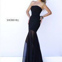Sheer Skirt Sherri Hill Fitted Prom Dress 32167