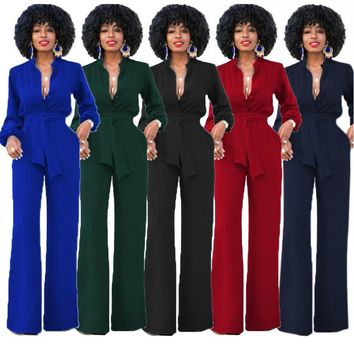 3XL Plus size women office wide leg jumpsuit long romper long sleeve sexy v neck tunic party Work Wear Elegant overalls hot