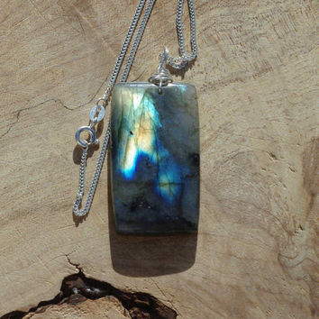 Labradorite Large Stone Pendant on a Sterling Silver Chain ~ Grey Yellow Blue Iridescent Stone  ~ Sterling Silver ~ Canadian Gemstone