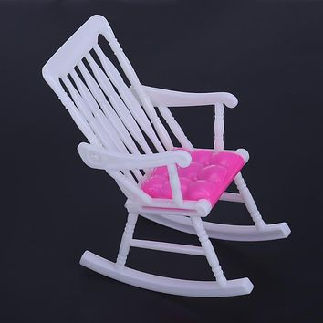 Mini Doll Rocking Chair Accessories for Barbie Doll House Room Decoration Dollhouse Furniture Children Girls Toy Gift