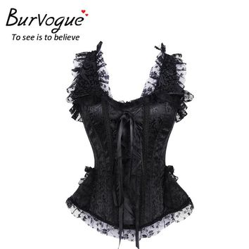 Burvogue New Sexy Steampunk Victorian Corset Waist Corsets and Bustiers Lace Steel Bone Corset Top Overbust Gothic Black Bustier