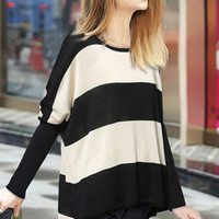 Long Sleeve Pullover Color Block Sweater