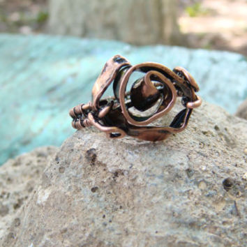 Copper Wire Wrapped Ring/Toe Ring rose FREE SHIPPING Sizes 5-12