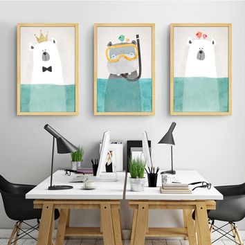 Modern Canvas Painting Art Nordic Kawaii Animals Bear Hippo Poster Print Nursery Wall Art Picture , No Frame Kids Room Decor