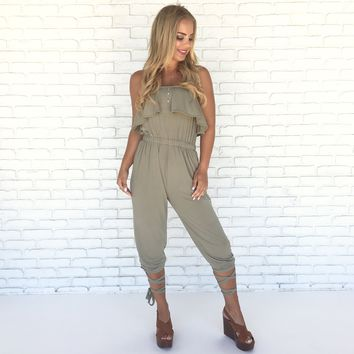Meant To Be Jumpsuit in Olive