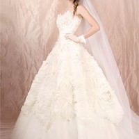 Ball gown Strapless white colour with sweep train cheap 2012 Agora wedding gowns BABG005 -Shop offer 2012 wedding dresses,prom dresses,party dresses for girls on sale. #Category#