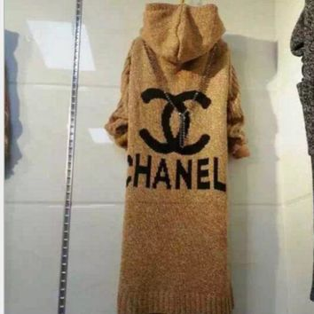 2018 Original Chanel Hooded sweater knit grey cardigan