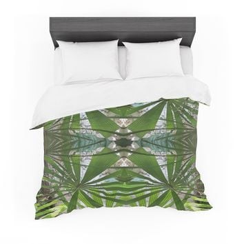 "Rosie Brown ""Palm Fronds"" Green Gray Digital Featherweight Duvet Cover"