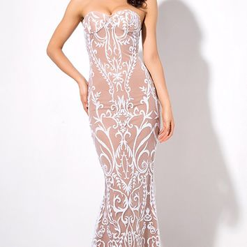 Feeling Glamorous White Glitter Geometric Lace Pattern Strapless Mermaid Maxi Dress