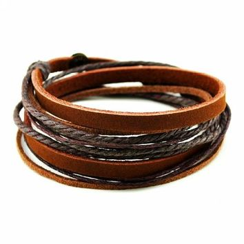 Coolla Alloy Brown Leather Wristband Wrap Bracelet