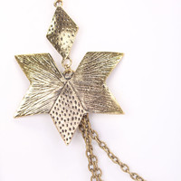 Vintage Gold Star Accent Layered Design Thin Chain Necklace